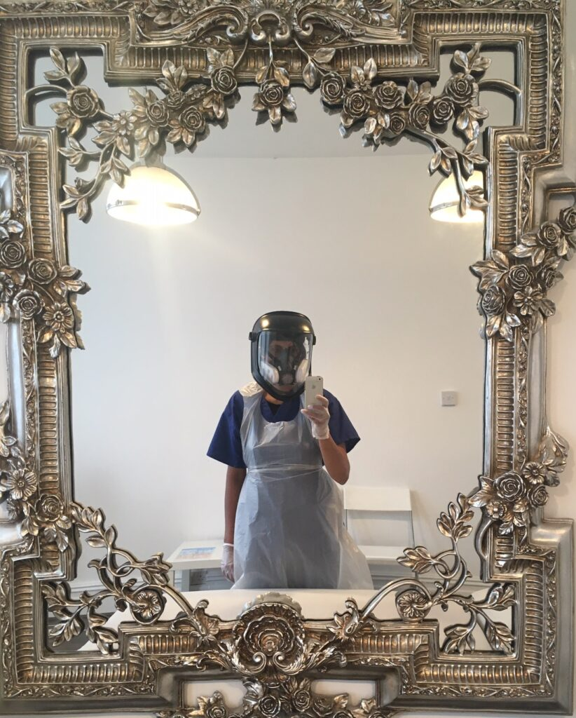 Close Contact Facial Treatments in Manchester - full PPE worn.